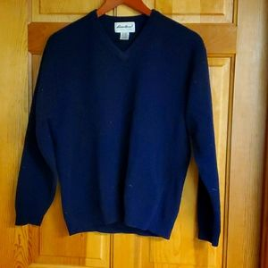 Eddie Bauer Sz M 100% Lambswool V-neck Sweater